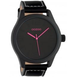 Oozoo Unisex Armbanduhr Basic Line mit Lederband 47 MM Black / Schwarz / Schwarz C1068