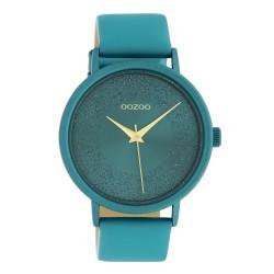 Oozoo Damenuhr mit Glitzereffekt und Lederband 42 MM Viridiangrün C10581