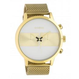 Oozoo Herrenuhr Chrono Look mit Milanaiseband 50 MM Goldfarben/Weiß C10510
