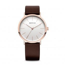 Bering Classic Damen Armbanduhr Leder Armband roségold glänzend (13436-564)