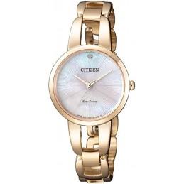 Citizen Damen Solar Analog Quarz Uhr mit Edelstahl beschichtet Armband EM0433-87D