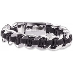SAVE BRAVE  Herren Armband Roger Edelstahl Leder schwarz 21 cm Bracelet. (SBB-ROGER-BK)