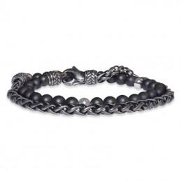Save Brave Herren Armband mit Edelstahl- mattierten Onyx Perlen  (SBB-NICO)
