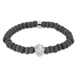 Save Brave Armband Löwe mit Edelstahl-Carbon Perlen (SBB-LEON-S)