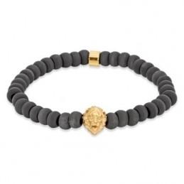 SAVE BRAVE Armband Leon Edelstahl  IP Gold  Carbon Perlen  21,5 cm (SBB-LEON-G)