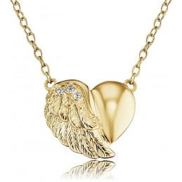 Engelsrufer 925 Silber Kette mit Herzflügel Anhänger »Little magic, VERGOLDET«, mit 3 Zirkonia  ERN-LILHEARTWING-G