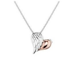 Engelsrufer 925 Silber Kette mit Herzflügel Anhänger Bicolor. Rose-Silber. »With Love special, Kette Flügel«,ERN-WITHLOVE-02-BI