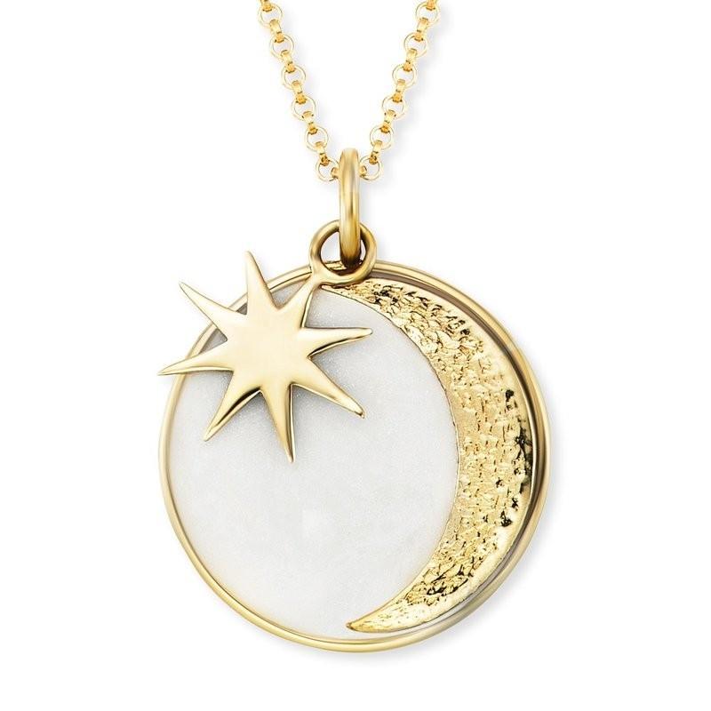 Engelsrufer Damen Kette Sterling Silber vergoldet Sonne,Mond&Stern, Emaille, Perlmutt, 50 cm  ERN-MOON-PE-G