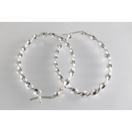 925 Silber Ohrringe. Creolen. Spiral. Klappbügelverschluß. (SOR64)
